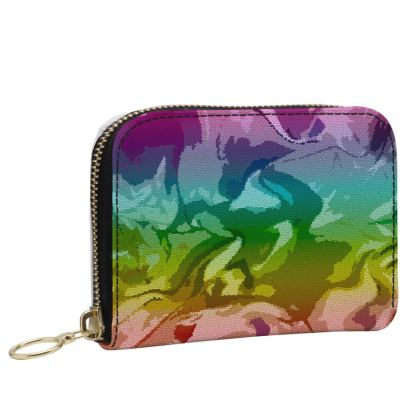 Small Leather Zip Purse - Honeycomb Marble Abstract 5