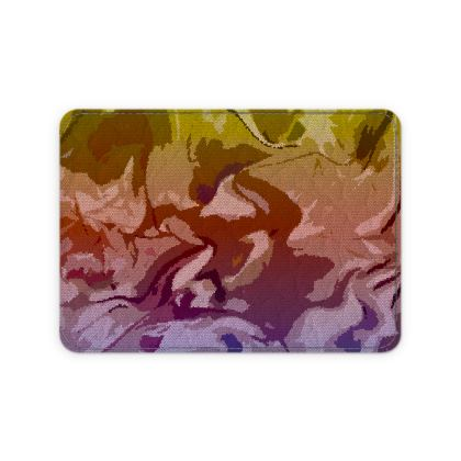 Leather Card Case - Honeycomb Marble Abstract 6
