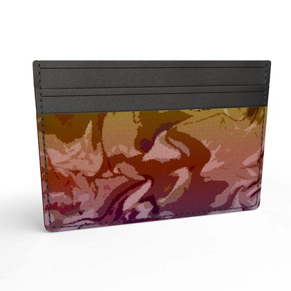 Leather Card Holder - Honeycomb Marble Abstract 6