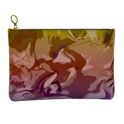 Leather Clutch Bag - Honeycomb Marble Abstract 6