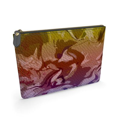 Leather Pouch - Honeycomb Marble Abstract 6