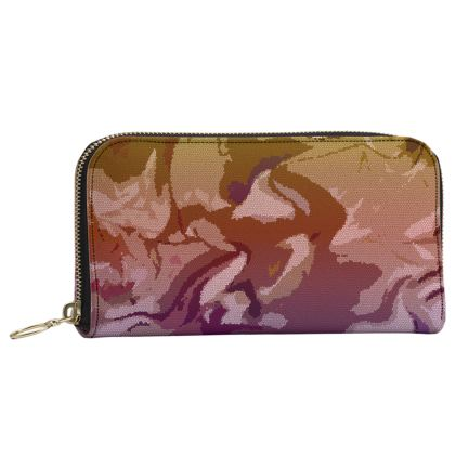 Leather Zip Purse - Honeycomb Marble Abstract 6