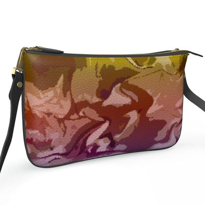 Pochette Double Zip Bag - Honeycomb Marble Abstract 6