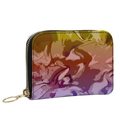 Small Leather Zip Purse - Honeycomb Marble Abstract 6