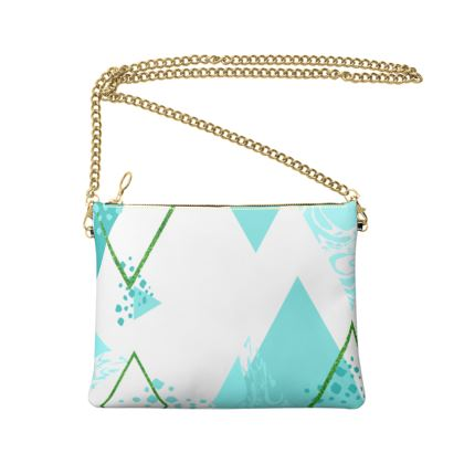 Crossbody Bag With Chain- Emmeline Anne Turquoise Diamonds