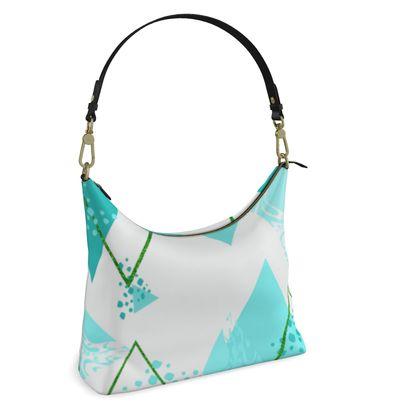 Square Hobo Bag- Emmeline Anne Turquoise Diamonds