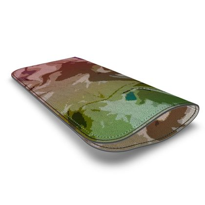 Leather Glasses Case - Honeycomb Marble Abstract 2