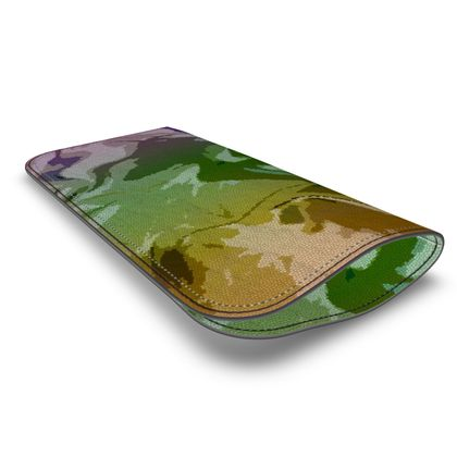 Leather Glasses Case - Honeycomb Marble Abstract 4