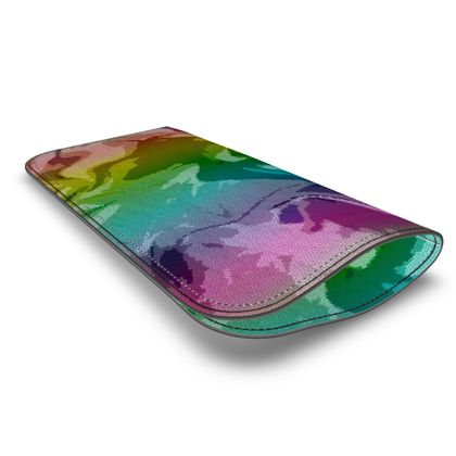 Leather Glasses Case - Honeycomb Marble Abstract 5