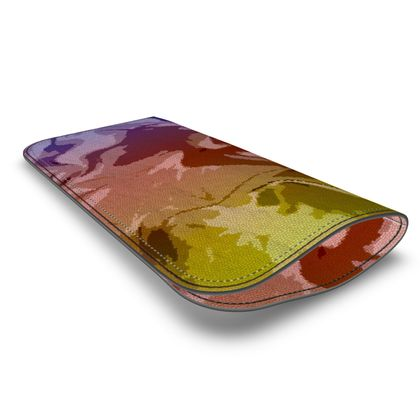 Leather Glasses Case - Honeycomb Marble Abstract 6