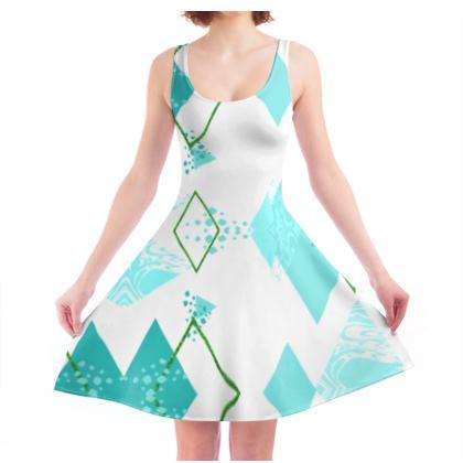 Skater Dress- Emmeline Anne Turquoise Diamonds