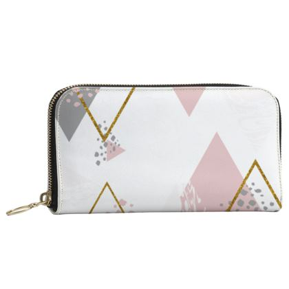 Leather Zip Purse-Emmeline Anne Pink Diamonds