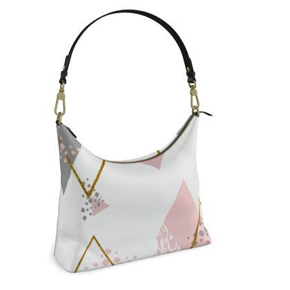 Square Hobo Bag- Emmeline Anne Pink Diamonds