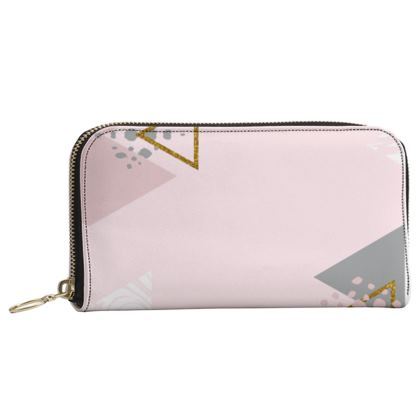 Leather Zip Purse- Pink Triangles