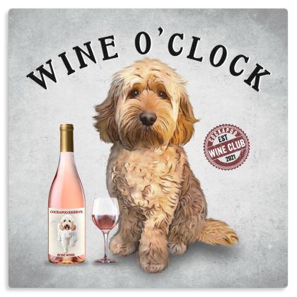 APRICOT COCKAPOO WINE O'CLOCK METAL PRINT