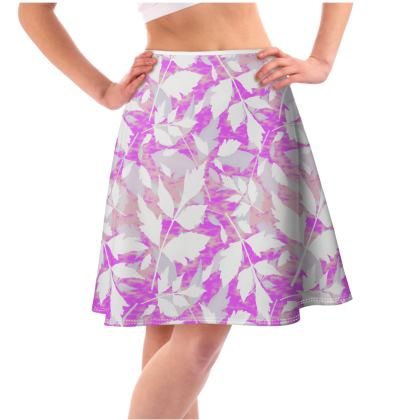 Flared Skirt Mauve, Pink  Cathedral  Leaves  Icicle