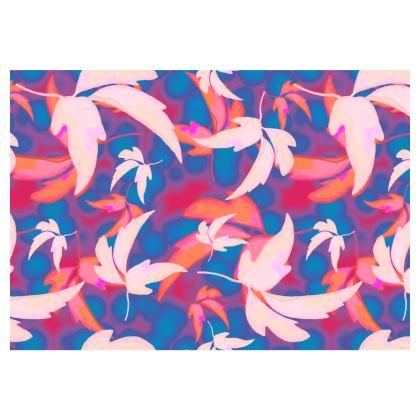 Flared Skirt Blue, Pink  Leaves in Flight   Oilcan