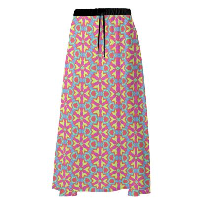 Skirt [maxi shown] Blue, Pink  Geometric Florals   Starflower