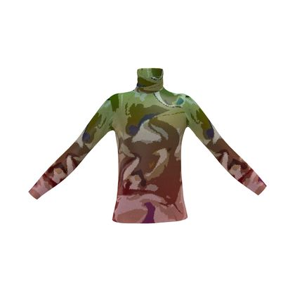 Mens Slim Fit Roll Neck - Honeycomb Marble Abstract 2