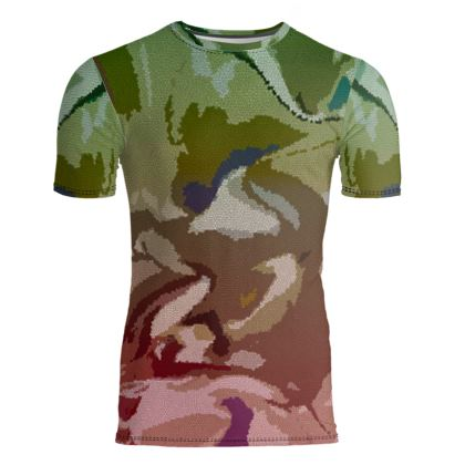 Slim Fit Mens T-Shirt - Honeycomb Marble Abstract 2