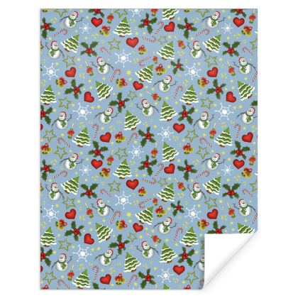 Light Blue Christmas Gift Wrap