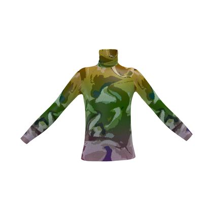 Mens Slim Fit Roll Neck - Honeycomb Marble Abstract 4