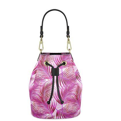 Tropical Garden Collection in Magenta Bucket Bag