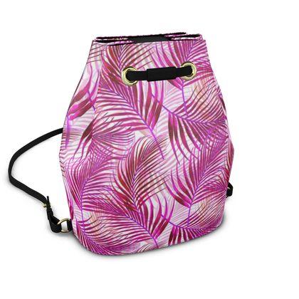 Tropical Garden Collection in Magenta Bucket Backpack
