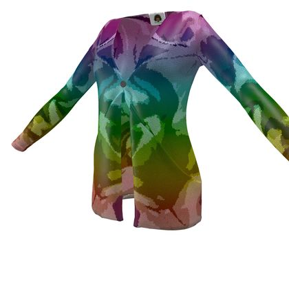 Ladies Cardigan With Pockets - Honeycomb Marble Abstract 5