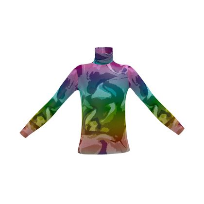 Mens Slim Fit Roll Neck - Honeycomb Marble Abstract 5