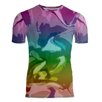 Slim Fit Mens T-Shirt - Honeycomb Marble Abstract 5
