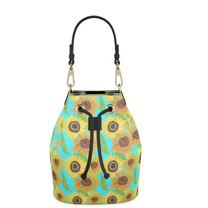 Naive Sunflowers On Turquoise  Bucket Bag