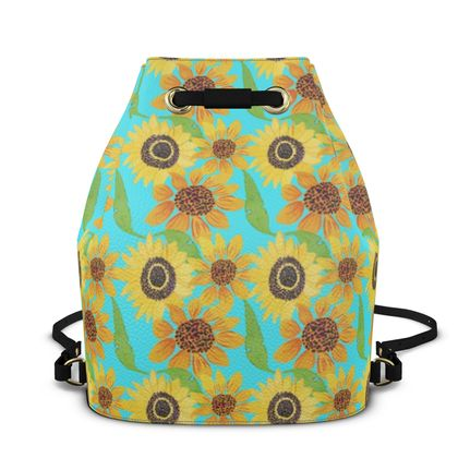 Naive Sunflowers On Turquoise  Bucket Backpack