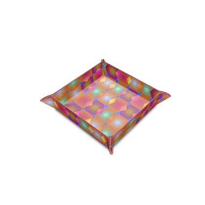 Geometrical Shapes Collection Leather Trinket Tray
