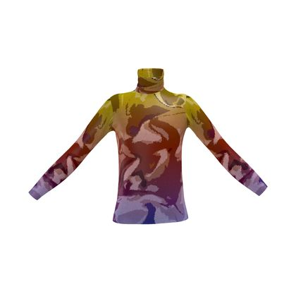 Mens Slim Fit Roll Neck - Honeycomb Marble Abstract 6
