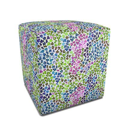 Leopard Skin Multicoloured Collection Square Pouffe