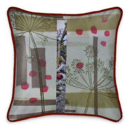 Bright Berries.  A luxurious, abstract design silk cushion with a soft muted palette enhanced by burst of red.