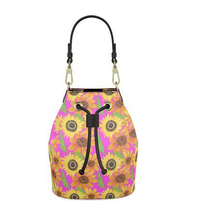 Naive Sunflowers On Fuchsia Bucket Bag