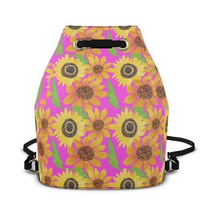 Naive Sunflowers On Fuchsia Bucket Backpack