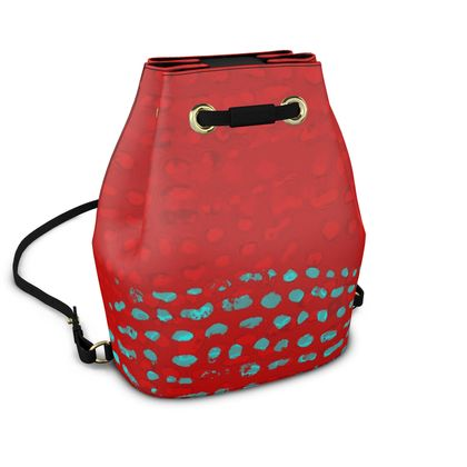 Textural Collection in red and turquoise Bucket Backpack