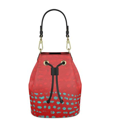 Textural Collection in red and turquoise Bucket Bag