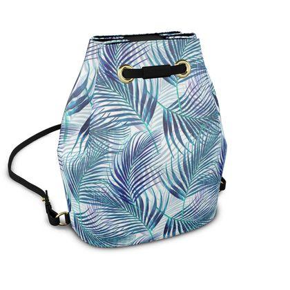 Tropical Garden in Blue Bucket Backpack