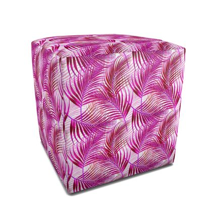 Tropical Garden Collection in Magenta Square Pouffe