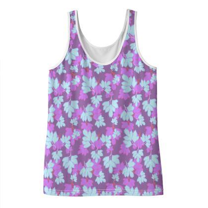 Ladies Vest Top [size 16 shown] mauve, blue  Oriental Leaves  Midnight