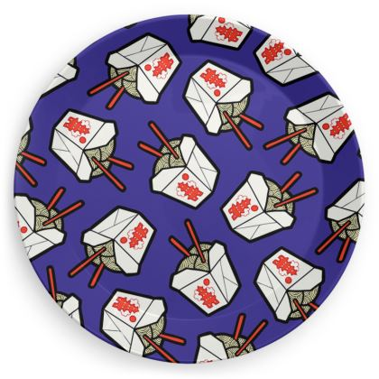Take Out Noodle Box Pattern Party Plates