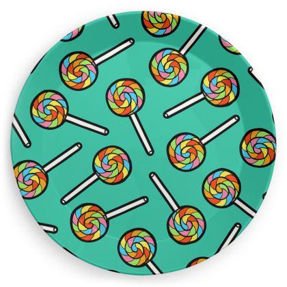 Rainbow Lollipops Pattern Party Plates