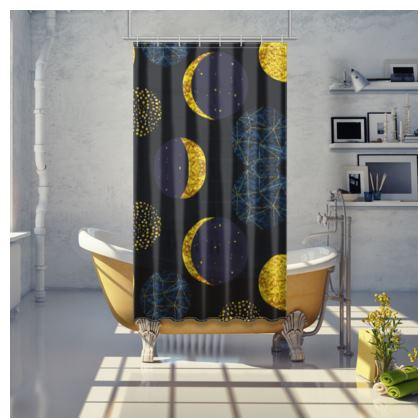 modern moon shower curtain