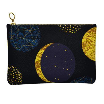 modern moon leather clutch bag