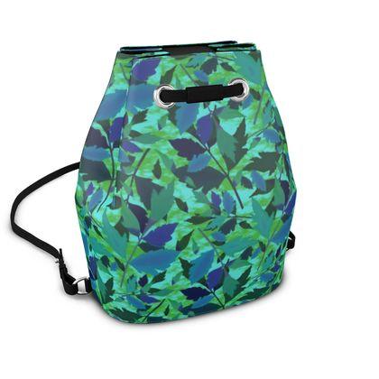 Bucket Backpack Green, Turquoise  Diamond Leaves  Rainforest