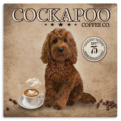 RED COCKAPOO COFFEE METAL PRINT